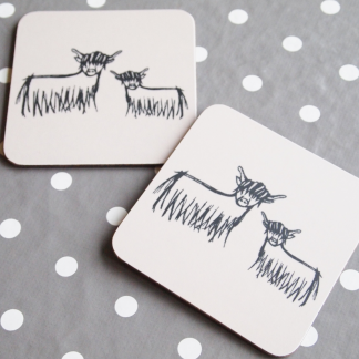 Highland Coo Coasters by Clement Design