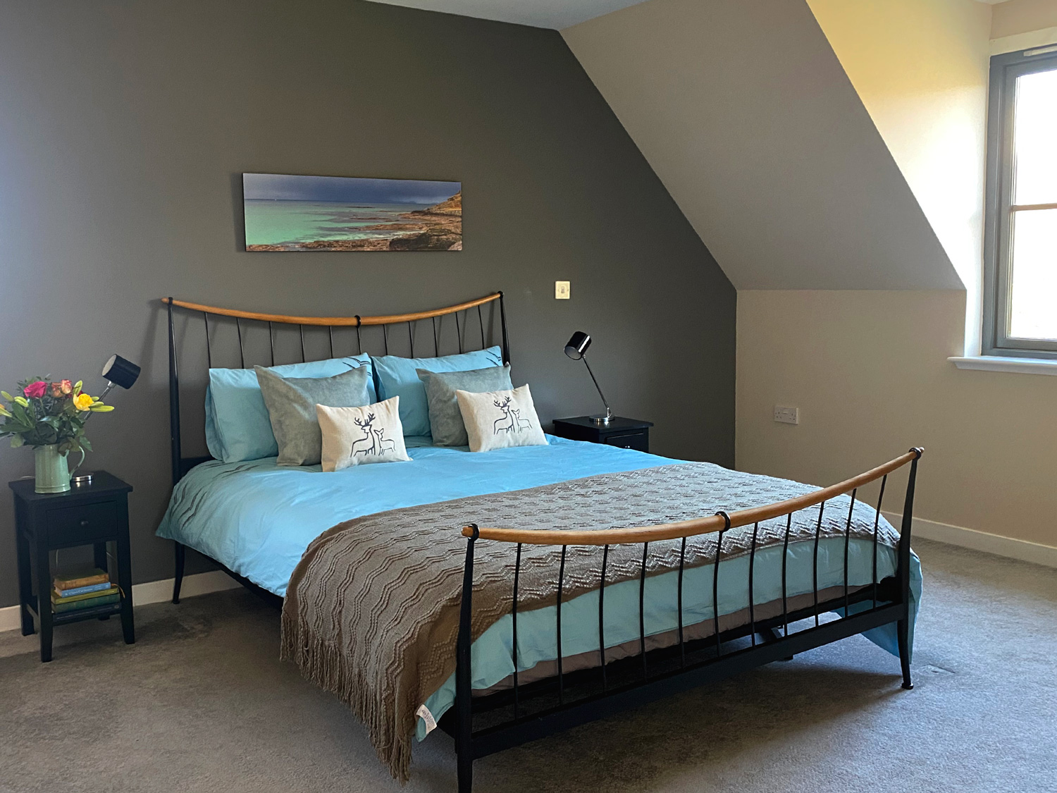 Cliff Cottage Master Bed Deer Cushions by Clement Design