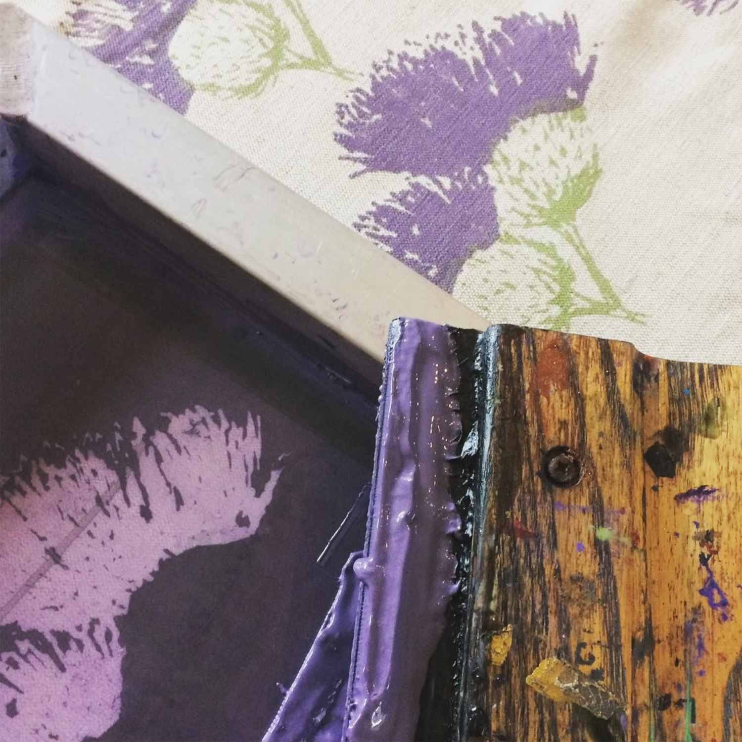 Thistle Hand-printed Fabric by Clement Design