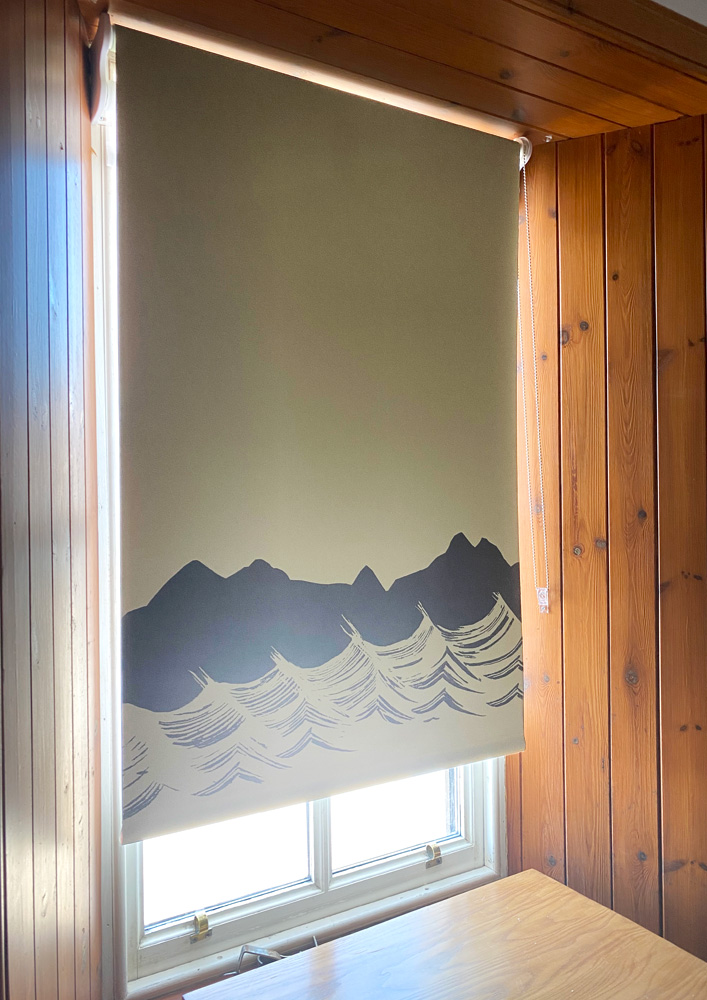 Hand-printed Sand Beach Blinds at Applecross Inn by Clement Design