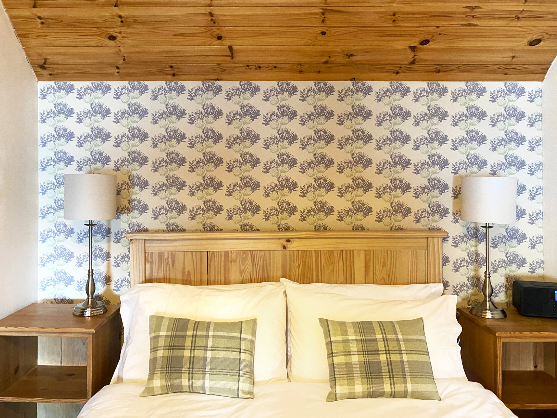 Thistle Wallpaper Tartan Cushions at Applecross Inn by Clement Design